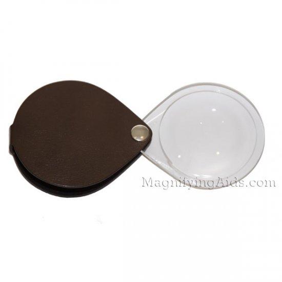 f53bd2f5ea03 3.5X Eschenbach Leather Folding Teardrop Pocket Magnifier - 50 mm Brown