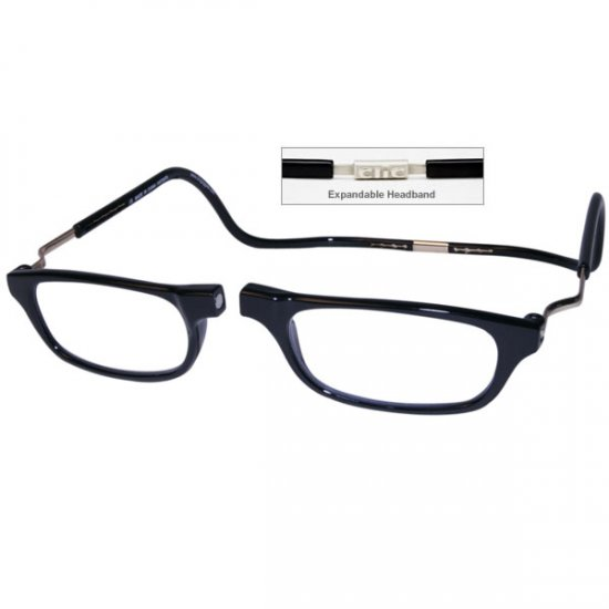 b6dd5fdfc61 CliC +1.5 Diopter Magnetic Reading Glasses  Expandable - Black