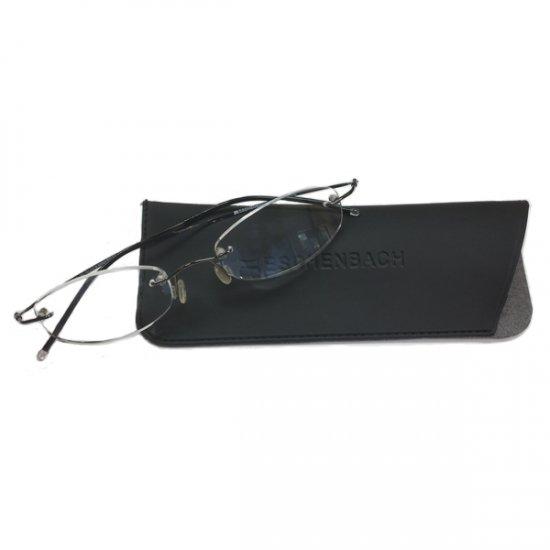 31385caf5842 +1 Diopter Eschenbach Rimless Reading Glasses - Gun Metal Oval .